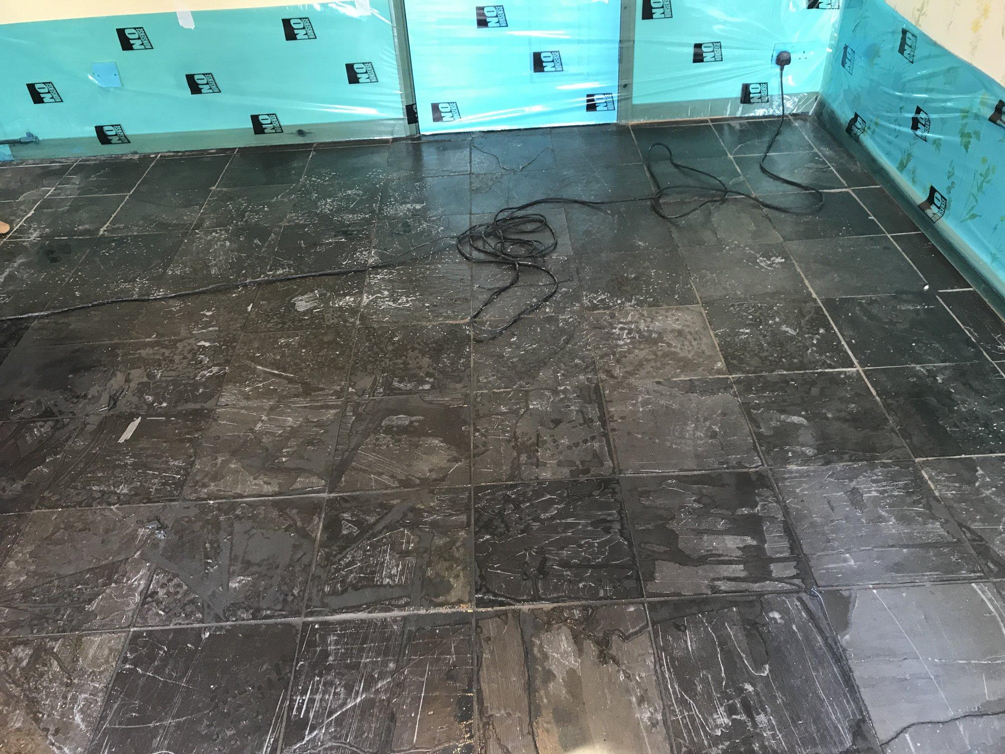 Slate Floor Restoration Cheltenham - Sanding slate floor