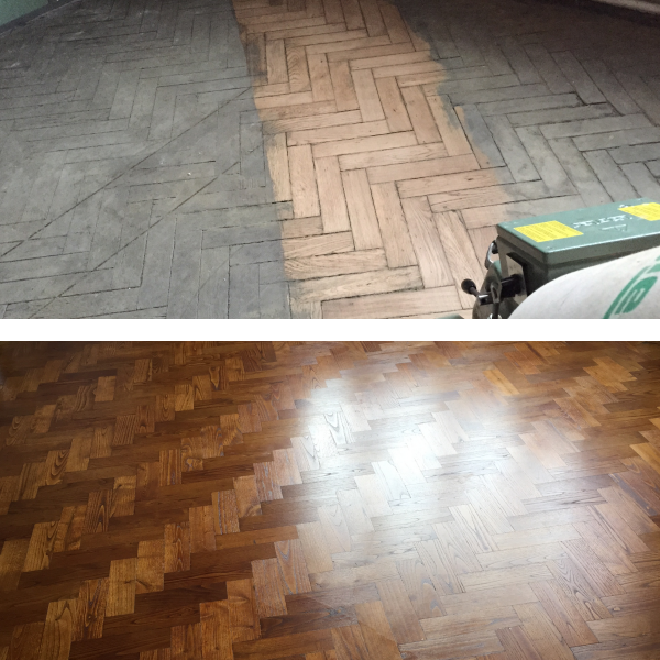 Parquet Sanding Before & After